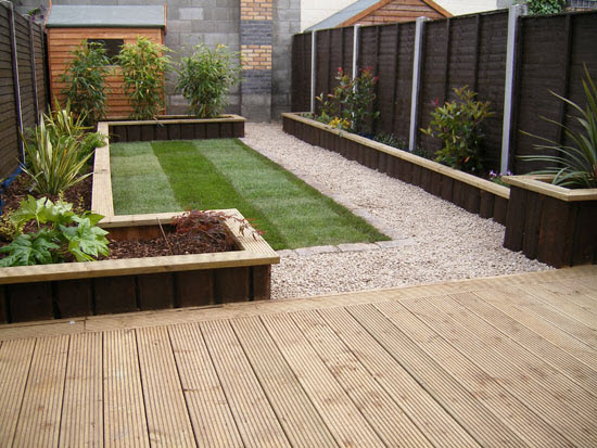 Fencing redditch landscaping garden decking sleepers for Garden decking design ideas